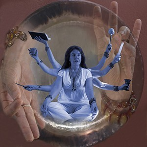 Collaged photo of Terry Wolverton in meditation. Photo by Yvonne M. Estrada
